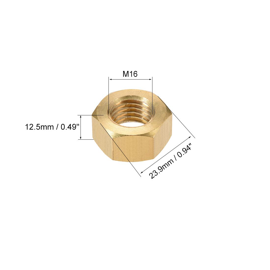 uxcell Hex Nuts Brass M8x1.25mm Metric Coarse Thread Hexagon Nut Pack of 10