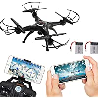 Fineser FPV RC Drone with 720P HD Wi-Fi Camera Live Video 2.4GHz 6-Axis Gyro Quadcopter with Altitude Hold, Headless Mode , One Key Start and Bonus Battery