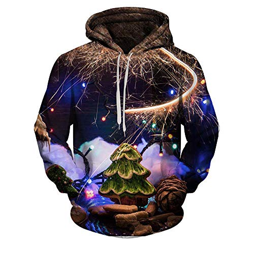 Price comparison product image Christmas Tree SweatShirt, NRUTUP Men's Shirts Fashion Printing Hoodie Sweatershirt Top Blouse Jackets Coats (Multicolor, L)