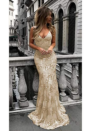 Champagne Mermaid Prom Dresses V-Neck Backless Long with Train Satin Sequins Formal Evening Gown for Women