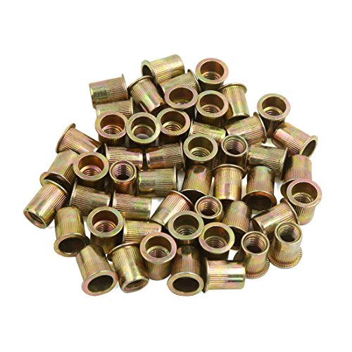 (uxcell 50 Pcs 3/8-16 Bronze Tone Stainless Steel Thread Rivet Nut Insert)