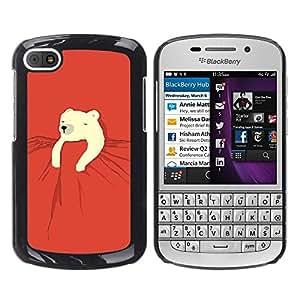 Be Good Phone Accessory // Dura Cáscara cubierta Protectora Caso Carcasa Funda de Protección para BlackBerry Q10 // polar bear kids sweet cute red night