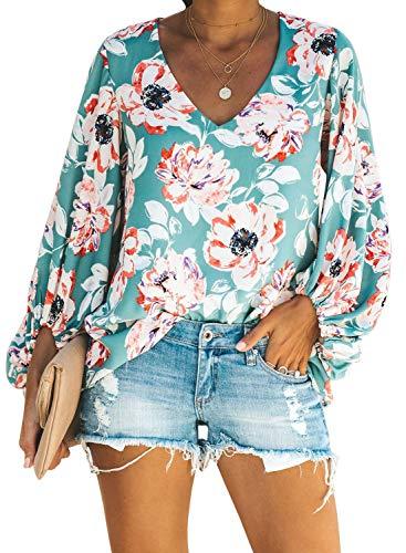 Silindashop Womens Chiffon Blouses Puff Long Sleeve V Neck Elegant Casual Oversized Shirts - Floral Top Sleeve Puff