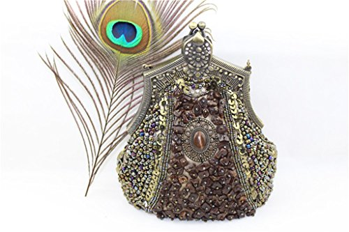 Heyjewels Vintage Handmade Damen Beaded Perlen Handtasche Clutch Stein Abendtasche Muttertag Geschenk