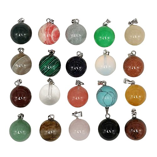 Chenkou Craft Wholesale Lots Mix Ball Assorted 10pcs Natural Stone Pendants Charms Jade Turquoise Agate Crystal Quartz Precious Stone Beads Bracelet Necklace Jewelry Gemstone (Round Random ()