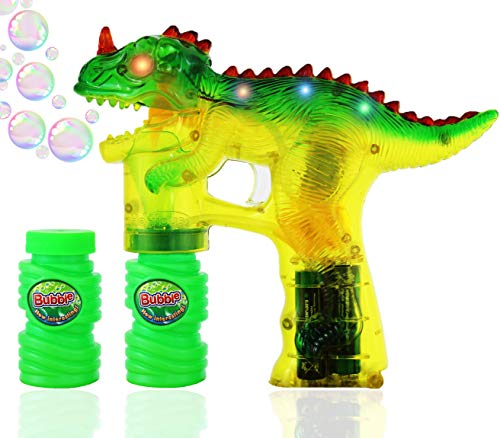 Haktoys Jurassic Dinosaur Bubble Gun Shooter Light Up Blower | Toy Bubble Blaster for Toddlers Kids Parties | LED Flashing Lights Extra Refill Bottle SoundFree Complimentary Batteries Included