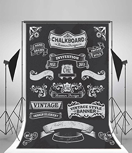 Laeacco 5x7ft Vinyl Back to School Photography Background Chalkboard Hand Drawn Vintage Style Banner Black and White Artistic Invitation Teach Badges and Ribbons Retro Design Balck Background Students (Floor 7 Halloween Special)