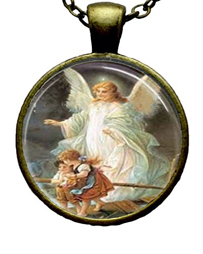 Guardian Angel Art Glass Cabochon Necklace (Childrens Gardian Angel)