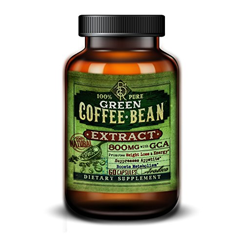 Pure Green Coffee Bean Extract - 100% Natural Green Coffee Antioxidant GCA - 800 mg with 50% Chlorogenic Acids for Natural Weight Loss - Appetite Suppressant - 60 Vegetarian Capsules