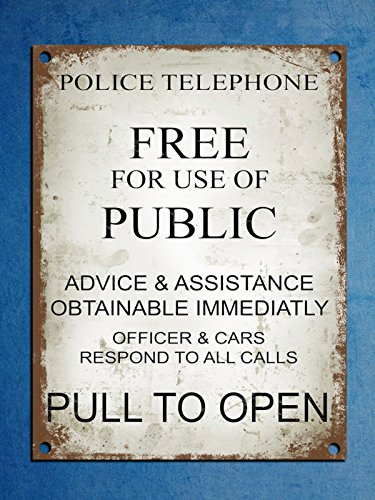 Metal Plaque Retro Vintage Style Police Phone Box Tardis Dr Who Wall Door Sign 8