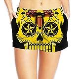 New Mexico Flag Sugar Skull Women's Lightweight Board/Beach Shorts Dry Fit Beachwear Pockets