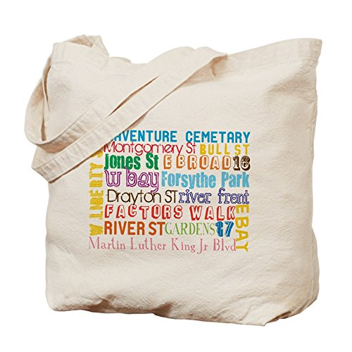 CafePress - Savannah, GA - Natural Canvas Tote Bag, Cloth Shopping - Charleston Shopping Sc