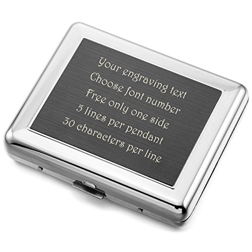 (MeMeDIY Silver Tone Stainless Steel Cigarette Case (Hold 18) - Customized Engraving)