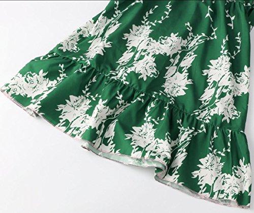 Jaycargogo Robe Col V Femmes Bandage Taille Haute Floral Wrap Mini Robes Dos Nu 1