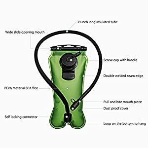 Homitt Upgrade Hydration Bladder, 3L Water Bladder BPA Free Military Class Leakproof Water Reservoir with Wide Opening Self-Locking Valve for Hiking Climbing Cycling Running and Any Outdoor Sports