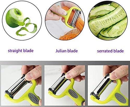 Peeler with Stainless Steel Fruit Vegetable 3 in 1 Rotary Peeler Non-Slip Comfortable Plastic Handle (Serrated-Straight-Julian)Blade