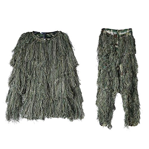 [Ghillie Suit, OUTAD Advanced 3D Camo Tactical Camouflage Clothing, Jungle Hunting Set for Hunting, Shooting, Airsoft, Wildlife Photography in Woodland and Forest, Free Size] (Ghillie Suit Costume Youth)