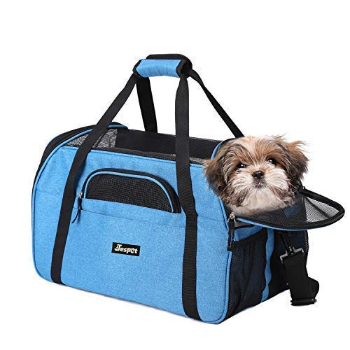 JESPET Soft Sided Pet Carrier Comfort for Airline Travel for Small Animals/Cats/Kitten/Puppy, Turquoise, 17″ x 9″ x 11.5″