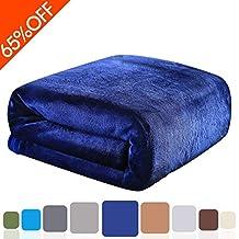 "Balichun Luxury 330 GSM Fleece Bed Blanket Super Soft Warm Fuzzy Lightweight Throw or Couch Blanket Twin/Queen/King Size (Navy Blue,50""x61"")"