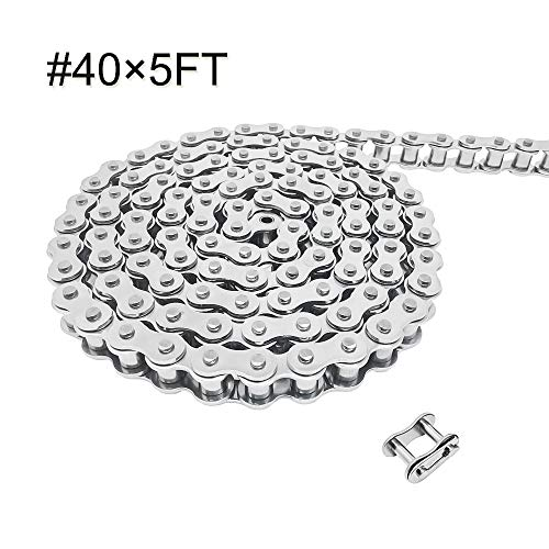 - # 40 Stainless Steel Chain Pitch 1/2 inch Length 5 Feet with 1 Connecting Link Silvery