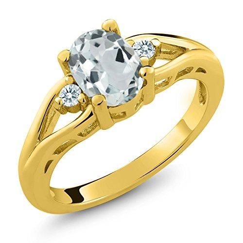 0.97Ct Oval Aquamarine 14K Yellow Gold 3-Stone Ring Set with Zirconia from Swarovski (Size 7)