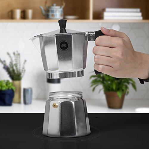Stovetop Espresso Maker by COFFEEDDICTED | Italian Coffee Mocha Maker (6 Cup, Silver)
