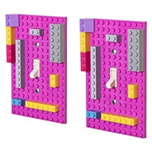 Premium Magenta Building Bricks Light Switch Cover Plate 2 Pack - Compatible with All Major Brands