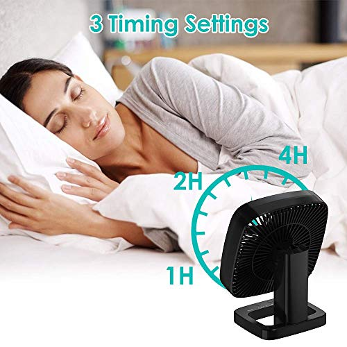 AQSURE Desk Fan Small Table Fan 4 Wind Speed Adjustable & 3 Timing Mode Quiet Operation Portable Fan USB Charging Adjustable Head 90°Rotatable Mini Personal Fan for Home Office Bedroom Camping