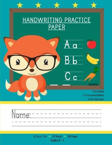 Read Online Handwriting Practice Paper: Notebook With Blank Writing Sheets For Kindergarten To 3rd Grade Students (Large 8.5x11 Inches - 50 Sheets - 100 Pages) ebook