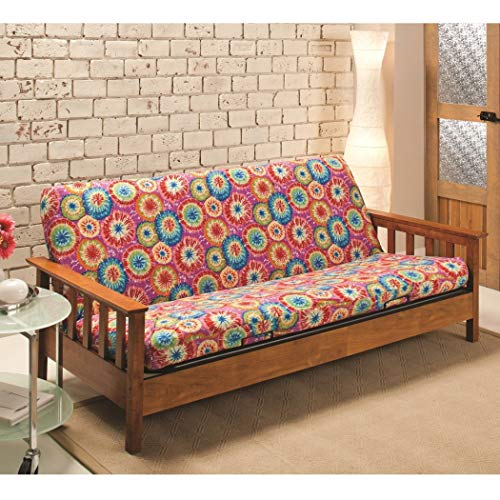 1 Piece Multi Tie-Dye Themed Futon Cover, All Over Beautiful Artistic String Dye Print, Adorable Colorful Texture Design Bedding, Vibrant Colors