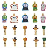 QTMY 20 Pcs Ghost Zombie Pumpkin Wooden Clip Hanging Photos with Twine Halloween Decoration Supplies Favors
