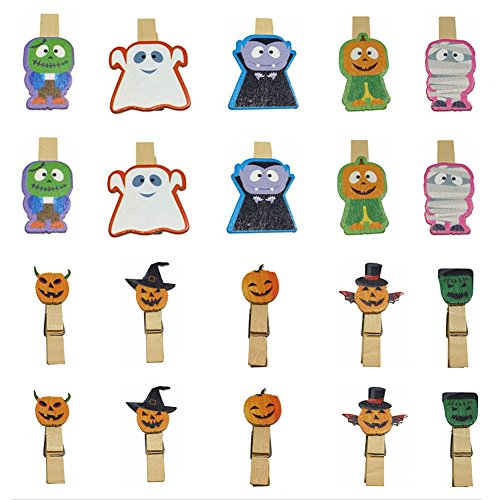 QTMY 20 Pcs Ghost Zombie Pumpkin Wooden Clip Hanging Photos with Twine Halloween Decoration Supplies Favors (Differnt Nuts)