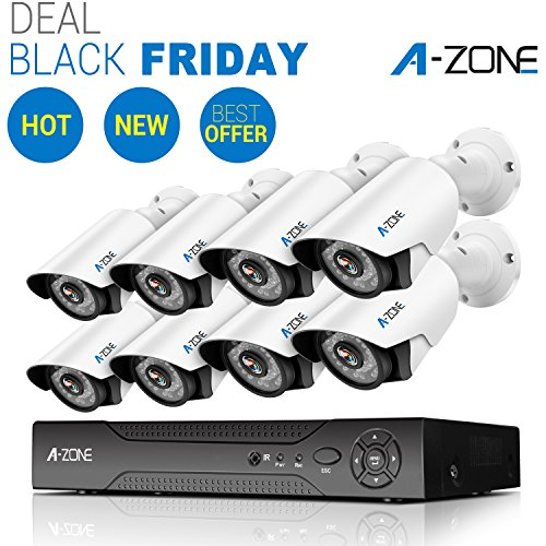 A-ZONE 8 CH 1080P DVR AHD Home Security Camera System W/ 6x HD 960P 1.3MP waterproof Night vision Fixed Surveillance Camera & 2x HD 1.3MP Varifocal Camera IR 2.8-12mm Lens Camera, Including 2TB HDD by A-ZONE