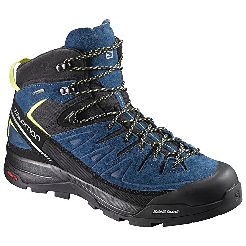 Salomon X Alp Mid LTR GTX Hiking Boot - Men's Black/Poseidon/Sulphur Spring 7.5 by Salomon