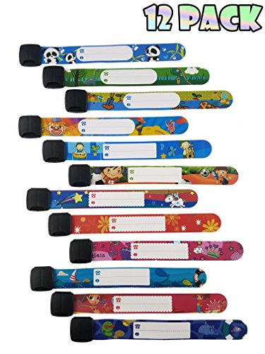 ID Safety Wristbands Infobands Bracelets for Kids Child Travel Event Field Trip, Outdoor Activity, Reusable Adjustable(Set of 12)
