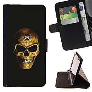 For HTC One M7 Gold Bling Skull Death Vicious Black Style PU Leather Case Wallet Flip Stand Flap Closure Cover