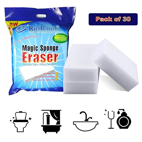Price comparison product image RioRand Magic Cleaning Eraser Sponge Melamine Foam  90 x 60 x 30mm(Pack Of 30)