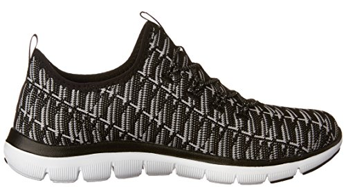Black 0 Sneaker 2 Appeal White Insights Skechers Donna Flex Infilare Hq61HO