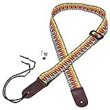 Mugig Ukulele Strap, Cotton Adjustable Strap with Leather Ends for Ukulele