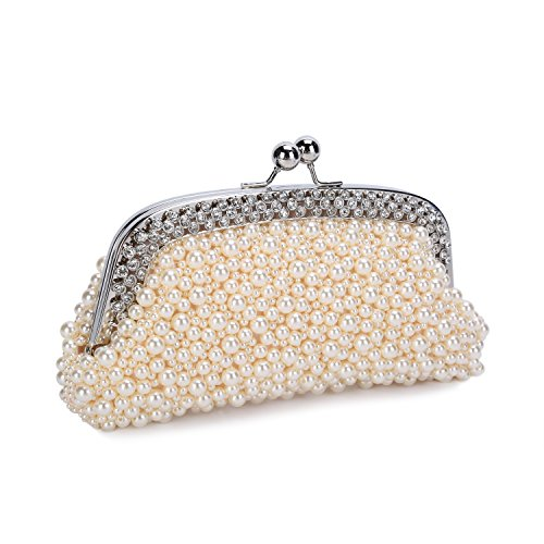 Chichitop Women's Pearl Bead Crystal Rhinestone Evening Clutch Wedding Party Handbag Bridal Purse (Bag Bridal Purse)