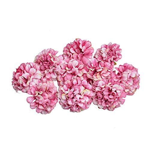 10Pcs Artificial Flower 4.5CM Silk Hydrangea Flower Head for Wedding Party Home Decoration DIY Wreath Gift Box Scrapbook Craft Rose Red ()