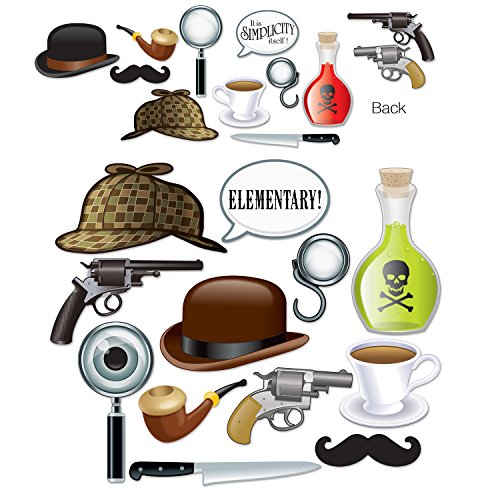 Beistle Club Pack Halloween Sherlock Holmes Photo Fun Signs, Box of 144 Props ()