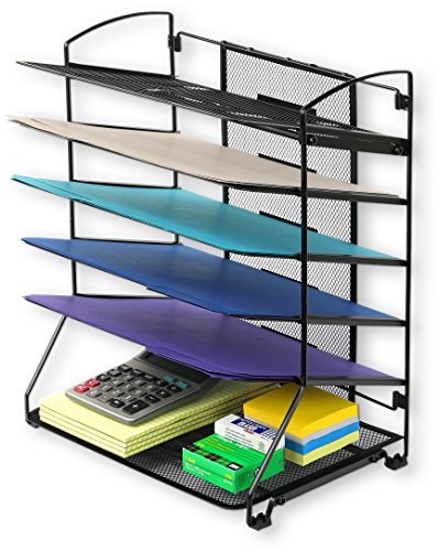 SimpleHouseware 6 Trays Desktop Document Letter Tray Organizer, Black (Holder Tray Top)