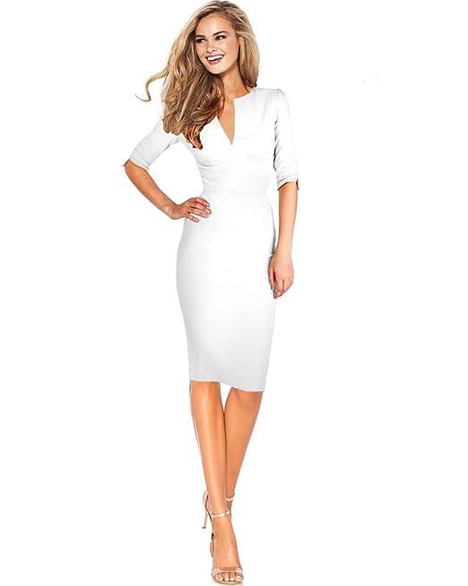 254f6954abc DREZZ2IMPREZZ Vestido Fiesta Boda Blanco 3/4 Manga Largo hasta la Rodilla  Elastico - Angelina