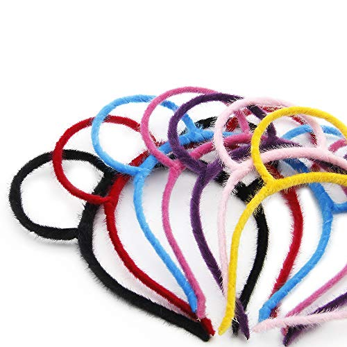 David Angie Velvet Bear Ear Headband Fluffy Cute Hair Hoop for Women Girls Party Costume Daily Decorations 7 Pieces (assorted 7 pcs)