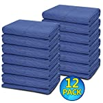 "12 Moving Blankets - Deluxe Pro - 80"" x 72"" (35 lb/dz) for Protecting Furniture Professional Quilted Shipping Furniture Pads Navy Bule and Black"
