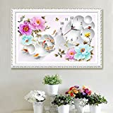 5D DIY Full-Drilled Diamond Painting by Number Kit Round Diamonds Clock Design Cross Stitch Rhinestone Mosaic Embroidery Craft Fish Peony Floral Modern Home Wall Decoration,Without Frame