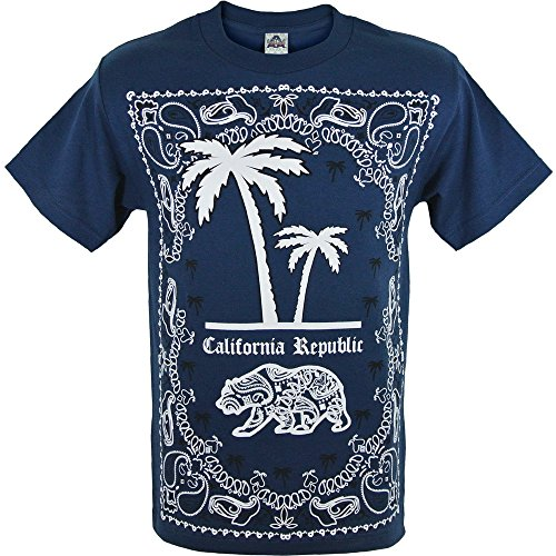 Mexican Blue Palm (California Bandana Print Palm Trees and State Bear Mens Navy Blue Shirt)
