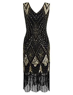 PrettyGuide Women 1920s Gatsby Cocktail Sequin Art Deco Flapper Dress