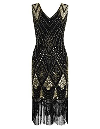 PrettyGuide Women 1920s 1920s Gatsby Vintage Sequin Art Deco Cocktail Flapper Dress S Gold